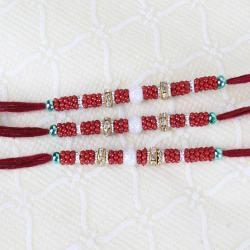 Three Designer Beads Rakhi Online