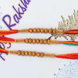 Three Fancy Wooden Color Beads Rakhis