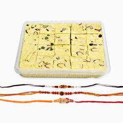 Three Rakhi and Soan Papdi