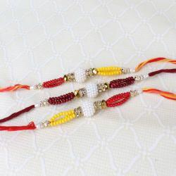 Three Rakhi of Colorful Small Beads