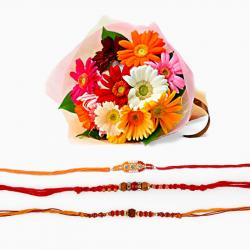 Three Rakhi with Gerberas