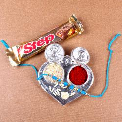 Tiny Silver Plated Rakhi Thali for Raksha Bandhan