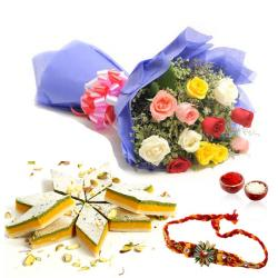 Tirangi Kaju Katli with Roses Bouquet and Rakhi