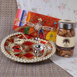 Traditional Puja Thali with Almonds and Kundan Rakhi