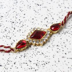 Triangle Diamond Studded Kundan Rakhi