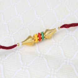 Trio Colors Beads with Golden Beads Rakhi