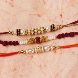 Trio Pearl Beads Rakhi Combo