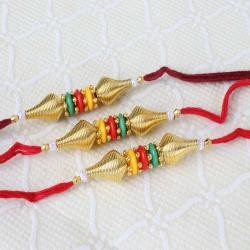 Triple Trio Colors with Golden Beads Rakhi
