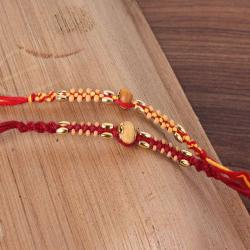 Twin Wooden Striking Beads Rakhi