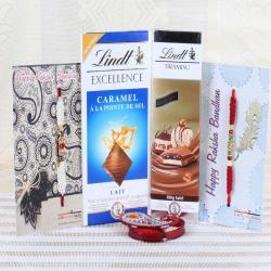 Two Designer Rakhi with Lindt Chocolate Bar Hamper