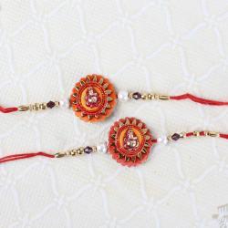 Two Ganesha Floral Design Rakhi