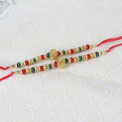 Two Golden and Colorful Beads Rakhi Thread