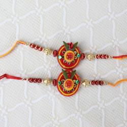 Two Om Floral and Beads Rakhi