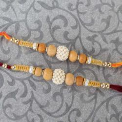Two Pearl Rhinestone and Wooden Beads Rakhi