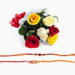 Two Rakhi and Mix Roses