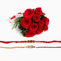 Two Rakhi with Red Roses