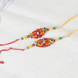 Two Traditional Colorful Beads Rakhi