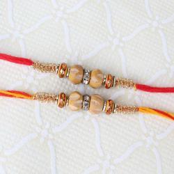 Two Wood and Diamond Ring Rakhi