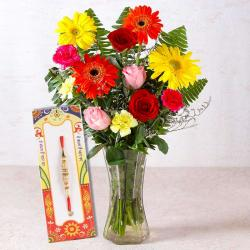 Vase of One Dozen Fresh Flowers with Designer Rakhi