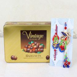 Vintage Luxury Hazelnuts Chocolate Box with Bhaiya Bhabhi Rakhi