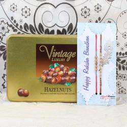 Vintage Luxury Hazelnuts Chocolate Box with Two Rakhis