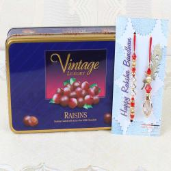 Vintage Luxury Raisins Chocolate Box with Bhaiya Bhabhi Rakhi