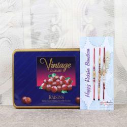Vintage Luxury Raisins Chocolate Box with Three Rakhis