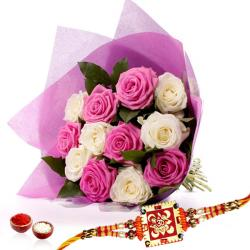 White and Pink Roses with Rakhi