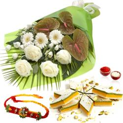 White Flowers Bouquet and Kaju Katli with Rakhi