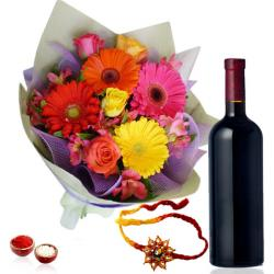 Wine with Mix Flowers and Rakhi