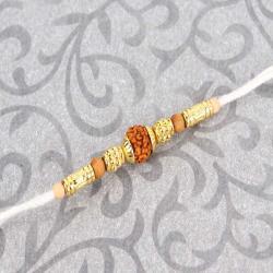 Wooden and Golden Beads with Rudraksha Rakhi