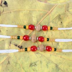 Wooden and Mauli Color Beads Three Rakhi Threads