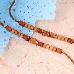Wooden Beads with Diamond Ring Rakhi Set