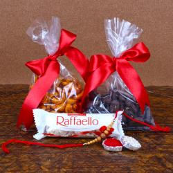 Wooden Rakhi with Raffaello and Dry Fruits