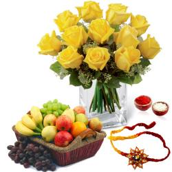 Yellow Roses Arrangement with Mix Fruits and Rakhi