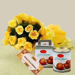 Yellow Roses with Gulab Jamun and Rakhi
