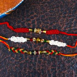 Zardosi and Pearl Motif Rakhi Set