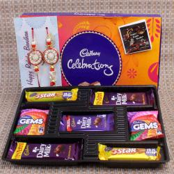 Zardosi Design Bhaiya Bhabhi Rakhi with Cadbury Celebration Chocolate