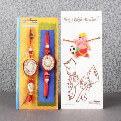 Zardosi Round Design Bhaiya Bhabhi Rakhi with Ganesha Rakhi for Kids