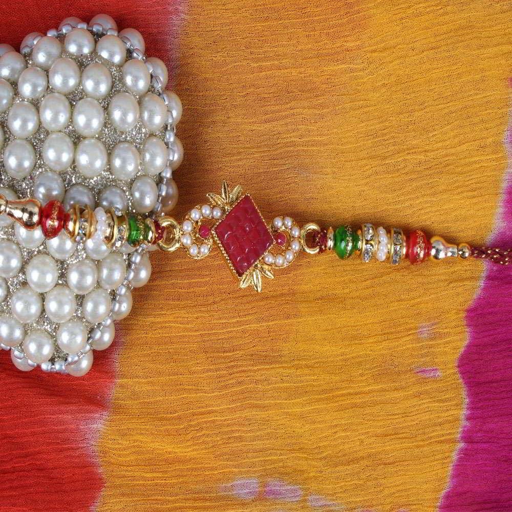 Tiny Pearl and Stone Sphere Kundan Rakhi-Worldwide