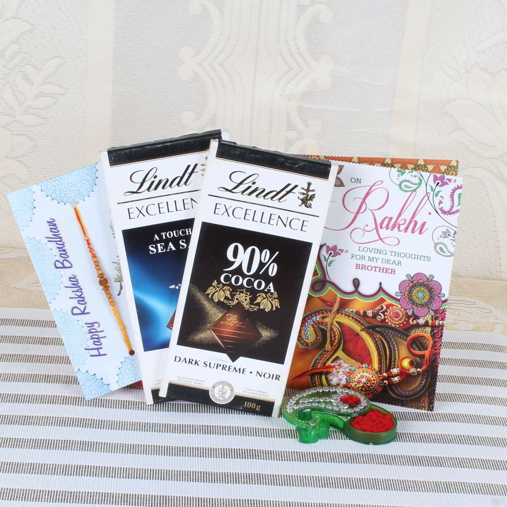 Two Lindt Excellence Chocolate with Rakhi and Greeting Card - Canada