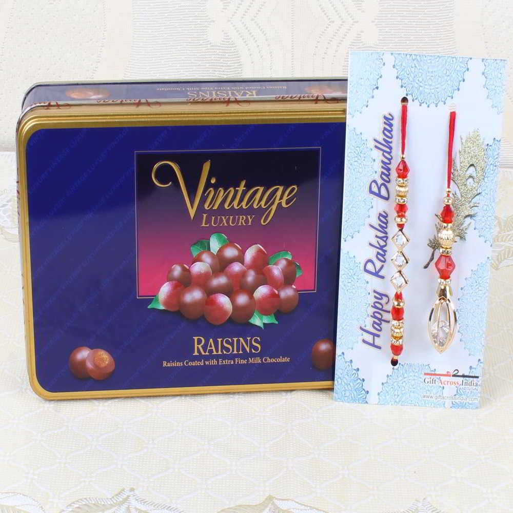 Vintage Luxury Raisins Chocolate Box with Bhaiya Bhabhi Rakhi