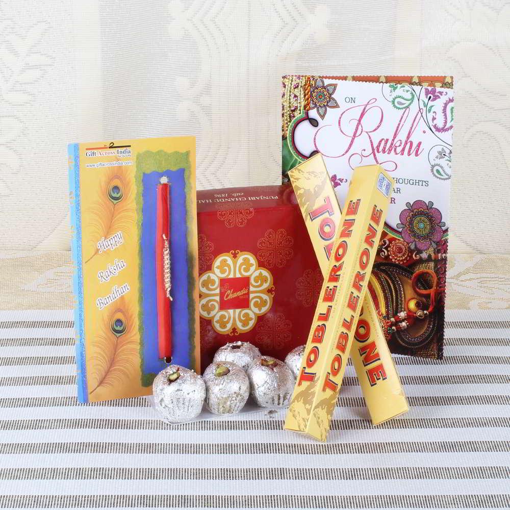 Zardosi Rakhi with Sweets and Chocolate Hamper-Worldwide